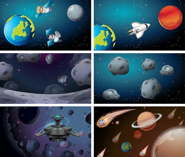 Cenas espaciais diferentes