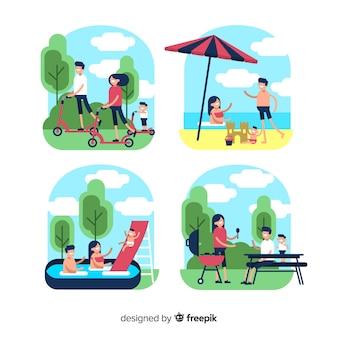 Cenas familiares ao ar livre planas