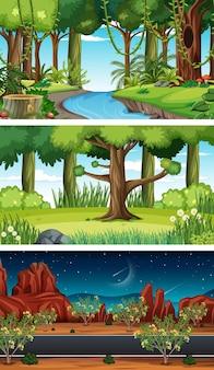 Cenas horizontais de natureza diferente
