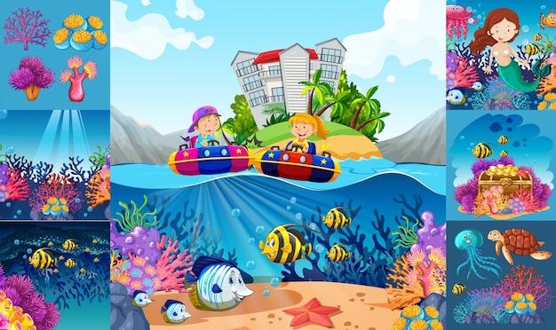 Cenas oceânicas com crianças e animais marinhos