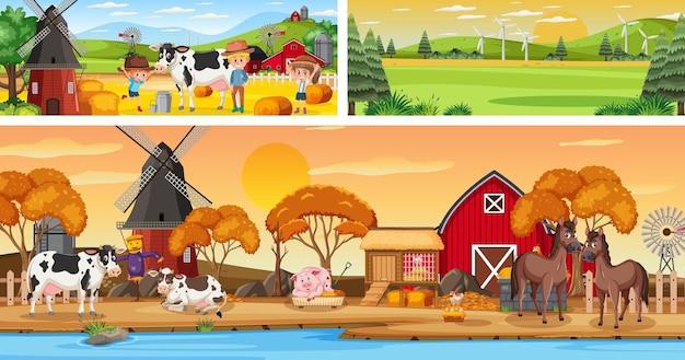 Cenas panorâmicas externas de paisagens com personagens de desenhos animados