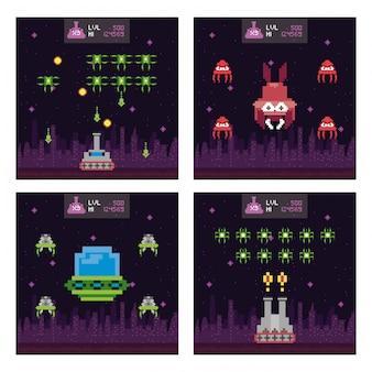 Cenas pixelizadas de espaço retro de videogame