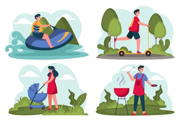 Cenas planas de verão com pessoas na natureza