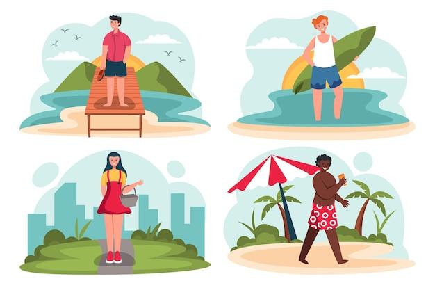 Cenas planas de verão com pessoas na praia