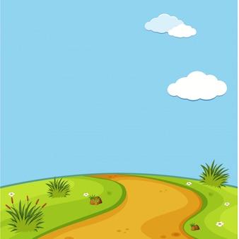 Cenas vazias da natureza com prado verde e céu azul em branco