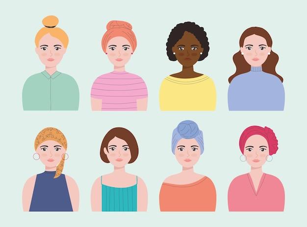 Cenografia de avatar de mulher em desenho animado