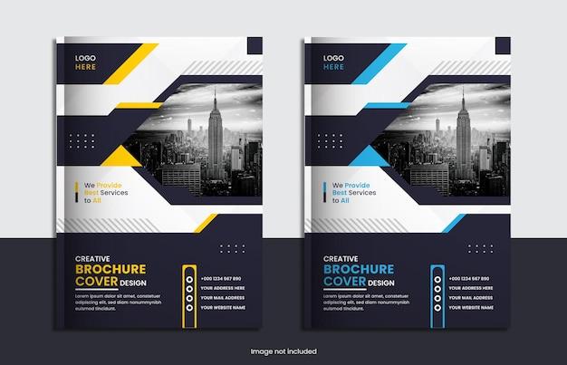 Cenografia de capa brochura corporativa moderna com formas abstratas.