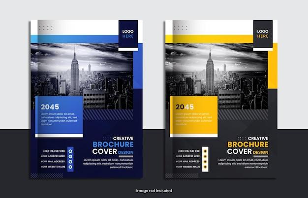 Cenografia de capa brochura corporativa moderna com formas simples.