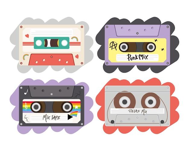 Cenografia de cassetes retrô, fita vintage de música e tema de áudio.