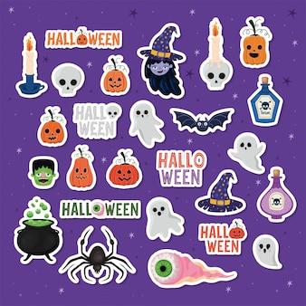 Cenografia de desenhos animados adesivos de halloween, feriado e tema assustador