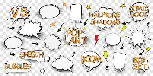 Cenografia de efeito boom para quadrinhos. nuvem de comic book bang, símbolo de som pow, bomba pow. conjunto de bolhas do discurso em quadrinhos. ilustração para livro de quadrinhos, banners de mídia social, material promocional