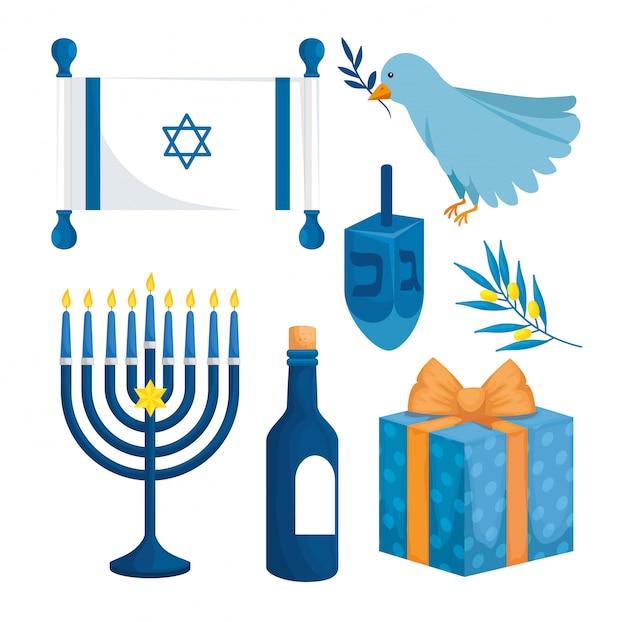 Cenografia de feliz hanukkah