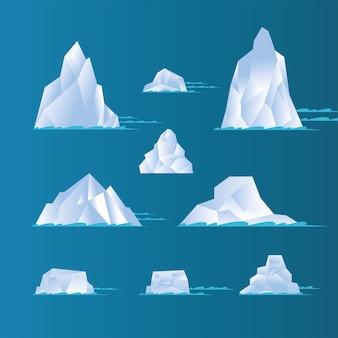 Cenografia de icebergs brancos, tema água azul oceano e gelo.