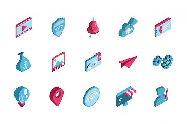 Cenografia de ícone de marketing digital isolado