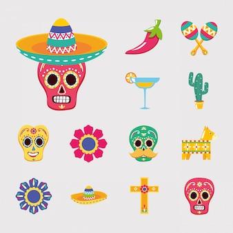 Cenografia de ícone mexicano isolado
