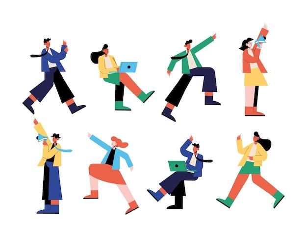 Cenografia de ícones de desenhos animados de seo e pessoas, marketing digital, comércio eletrônico e ilustração de temas online