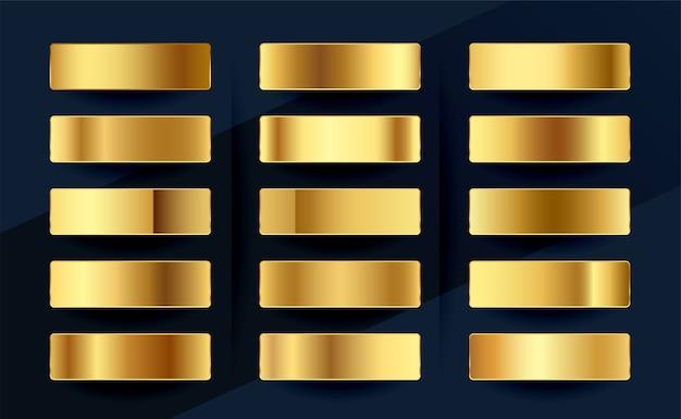 Cenografia de paleta de amostras de gradientes de ouro real premium