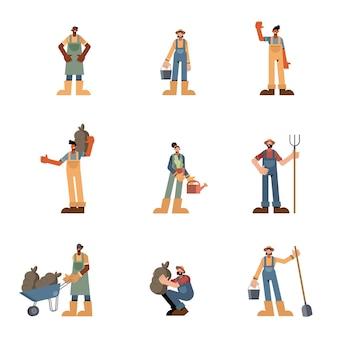 Cenografia de pessoas de fazenda, ilustração de tema agrícola, estilo de vida agronomia, agricultura