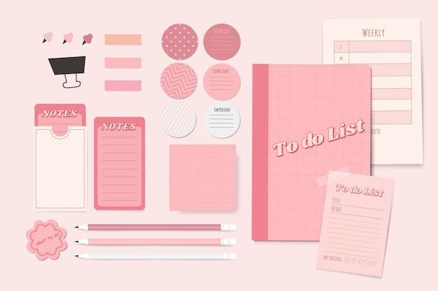 Cenografia de planejador de papelaria rosa