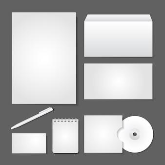 Cenografia de suprimentos de escritório de vetor para identidade empresarial em fundo cinza