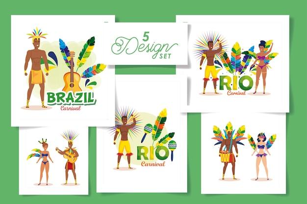 Cenografia do carnaval do brasil com as pessoas
