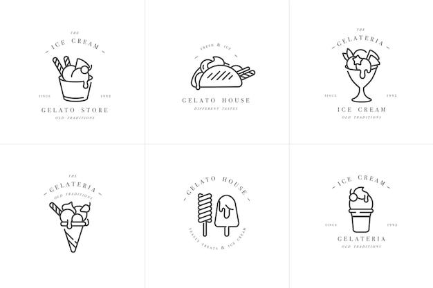 Cenografia modelos coloridos logotipo e emblemas de sorvete e gelato
