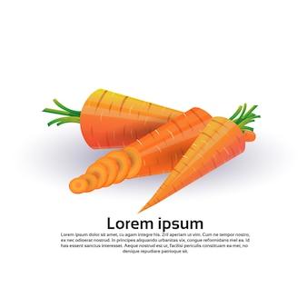 Cenoura no fundo branco, estilo de vida saudável ou conceito de dieta, logotipo para legumes frescos