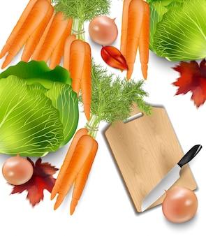 Cenouras e uma tábua de cortar madeira