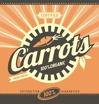 Cenouras orgânicos orgânicos produtos frescos banner ou poster design