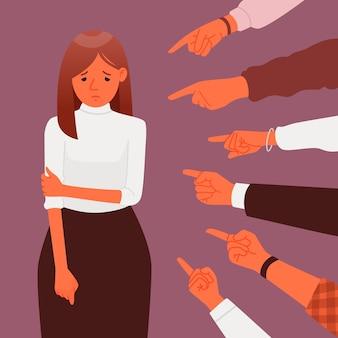 Censura pública ou culpa. vítima do ridículo e da vergonha. o conceito de condenação e bullying. assédio. muitas mãos apontam para uma mulher triste e deprimida. ilustração vetorial em estilo simples.