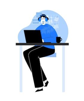 Central de atendimento. mulher com laptop e fones de ouvido. centro de serviço no estilo desenhado à mão. suporte técnico