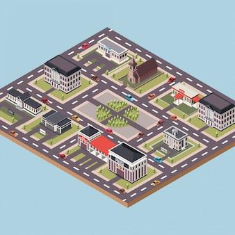 Centro da cidade com vários edifícios