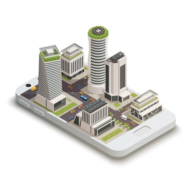 Centro da cidade inteligente isométrico