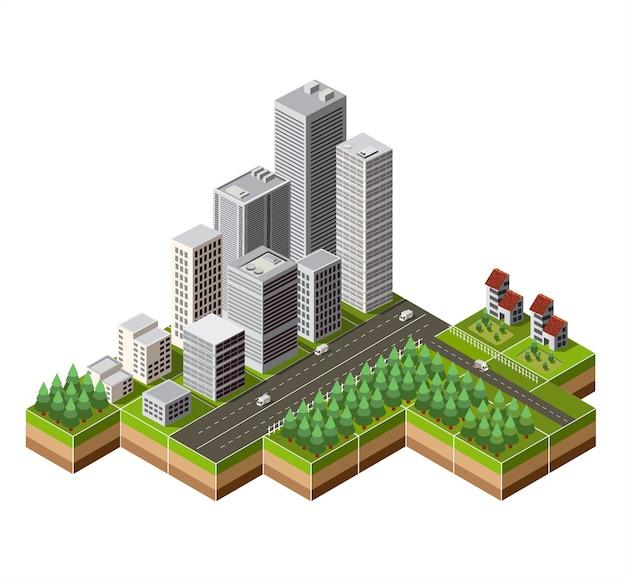 Centro da cidade isométrica no mapa com muitos edifícios, arranha-céus, fábricas