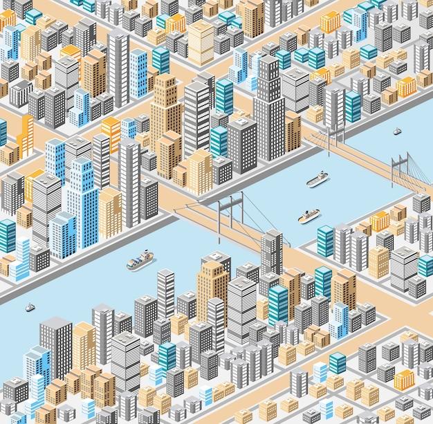 Centro da cidade isométrica no mapa com um grande número de edifícios, arranha-céus