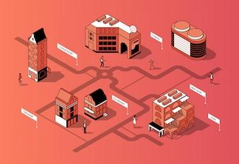 Centro da cidade isométrico 3D. Mapa urbano