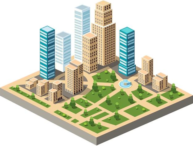 Centro da cidade isométrico de vetor