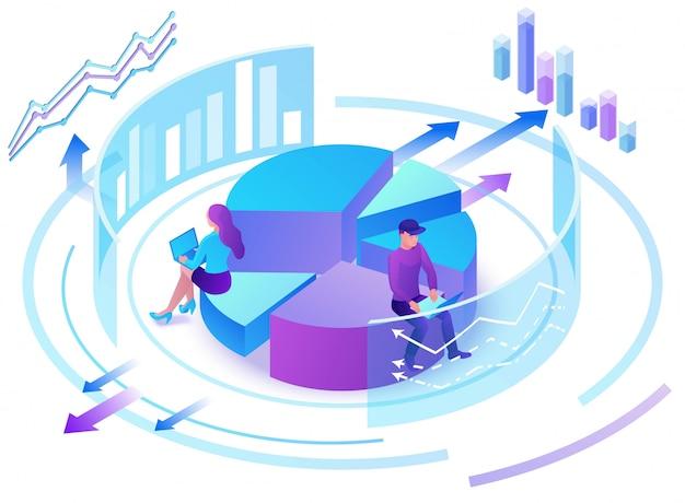 Centro de análise de dados, pessoas de negócios 3d isométrico