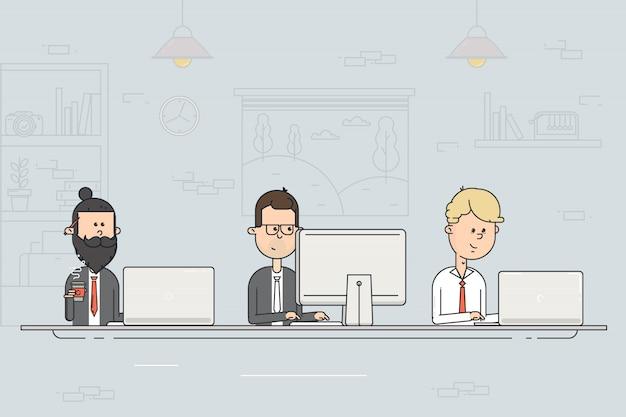 Centro de coworking reunião de negócios. trabalho em equipe. pessoas que trabalham nos computadores no escritório aberto. ilustração em vetor design plano.