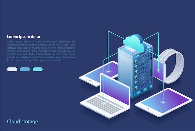 Centro de dados. conceito de armazenamento em nuvem, transferência de dados.