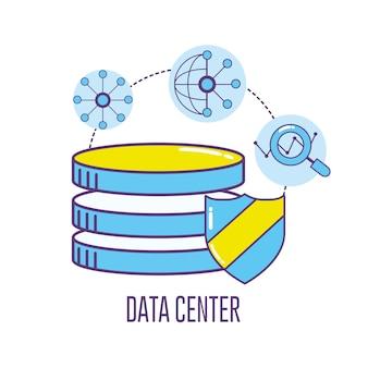 Centro de dados de banner de tecnologia conectando
