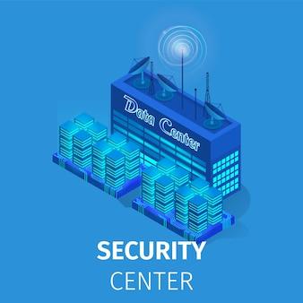 Centro de dados de segurança. ilustração de estação de energia