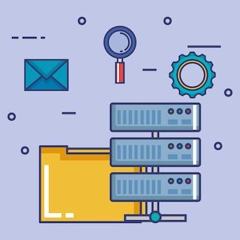 Centro de dados definido ícones planos