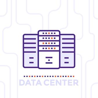 Centro de dados, ilustração vetorial de sala de servidores