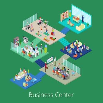 Centro de escritório de negócios isométrica edifício interior com sala de conferências e ginásio.
