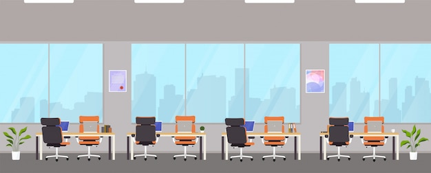 Centro de escritório moderno com locais de trabalho.