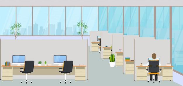 Centro de escritórios moderno com locais de trabalho e funcionários. espaço de trabalho vazio para co-working, sala de design de negócios com grandes janelas, móveis no interior, desktops e cadeiras, equipamento informático.