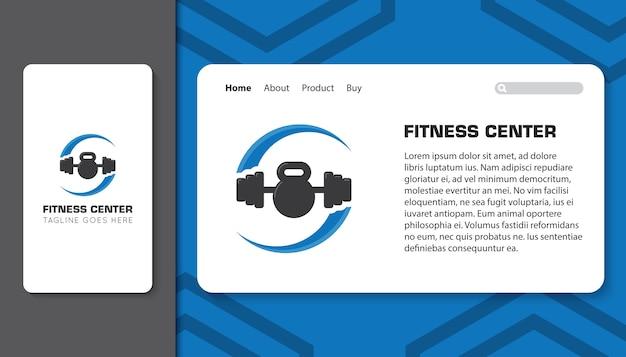 Centro de fitness para aplicativo móvel e modelo de página de destino