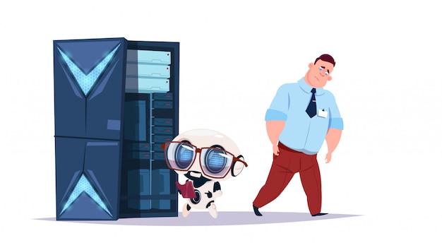 Centro de inteligência artificial de armazenamento de dados com servidores e funcionários de hospedagem. conceito de cybermind de suporte de comunicação de robô de computador