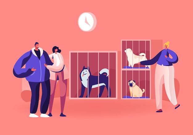 Centro de libras, reabilitação ou adoção de animais perdidos e desabrigados. ilustração plana dos desenhos animados